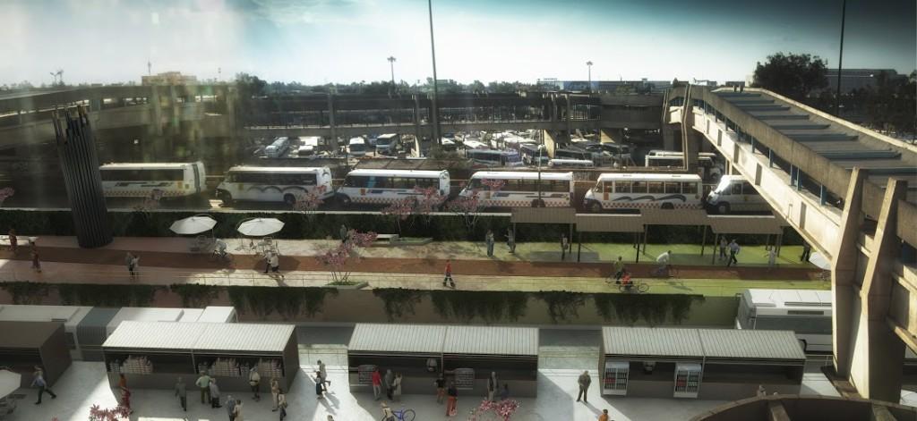 Vista desde los andenes de la línea 9 del Metro.